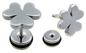 Pair of Fake Plug (2 Pieces) of Surgical Steel 316L - Clover- Post 1.2 mm