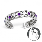 Purple Crystal Sterling Silver Adjustable Toe Ring