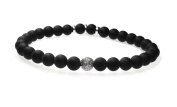 Men's Matt Onyx Diamond Bead Sterling Silver Stretch Bracelet