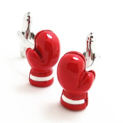 Covink Red Boxing Gloves Cufflinks Boxers Fans Cuff Boxing Champion Favourite French Shirt Cuff with Gift Bag