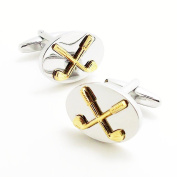 Covink Silver and Gold Crossed Golf Clubs Cufflinks Novelty Gift for Golfer Golf Fans Golf Links Members
