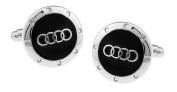 Men's Bodega Audi Logo Cufflinks, Silver And Black Circle