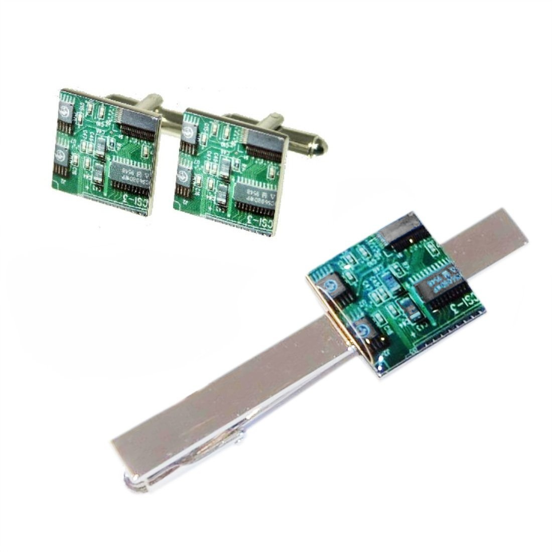 Quality Green Circuit Board Square Cufflinks Tie Clip By Mc Gifts Shop Online For Jewellery In Fiji