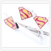 Superman Superhero Tie Pin Bar Necktie Clip Cufflinks Set Mens Accessories Costume Props