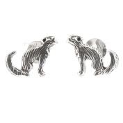 Sterling silver Racoon Meerkat Mongoose Critter Stud Earrings