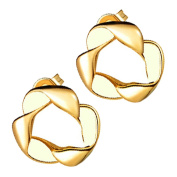 GWG® 18K Gold Plated Twisted Band Shape with Coloured Stripe Earrings for Women