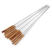 10pcs/lot BBQ Tools Stainless Steel Skewers Barbecue Roasting Needle Skewer Wooden handle Roasting Fork BBQ Brochett Tong Kebabe