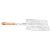 . BBQ Barbecue Fish Grilling Basket Roast Meat Fish Vegetable BBQ Tool with Wooden Handle