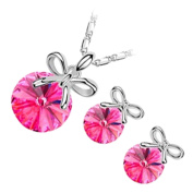 GWG® Sterling Silver Plated Jewellery Set of Pendant Necklace and Earrings Round Cut Coloured Cristal Decorated with Festive Bow from Above for Women