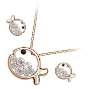 GWG® 18K Gold Plated Jewellery Set of Pendant Necklace and Earrings Fish Full of Coloured Crystals for Women