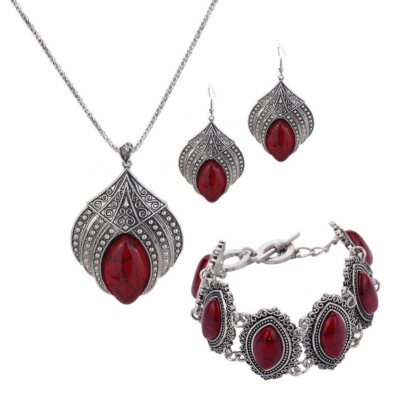 Pu Ran Women Retro Bohemian Alloy Hollow Out Heart Engraving Earrings Jewelry Gift zmmGAHp