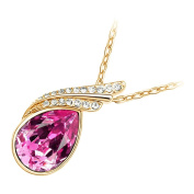 GWG® 18K Gold Plated Inlay Sparkling Coloured Austrian Main Crystal with 2 Bands Graced with Diamond Clear Stones Water Drop Shaped Pendant Necklace for Women