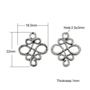 10 x Antique Silver Tibetan 18x22mm Connectors Links (Celtic Knot Pagan) - (Y00130) - Charming Beads