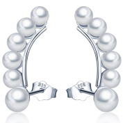 Infinite U 925 Sterling Silver Sweep Up White Pearls Cuffs & Wraps Earrings/Studs for Women/Girls