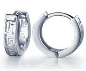 Infinite U 925 Sterling Silver Heart/Infinity Heart/Labyrinth Maze Huggie Hoop Earrings Creole for Women/Girls