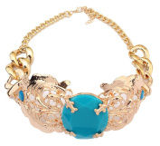 Flower Geometric Acrylic Stone Charm Choker Necklace with Golden Chain