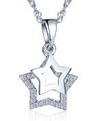 Infinite U 925 Sterling Silver Cubic Zirconia Unique Mobile Double Stars Pendant Girls/Women Necklace