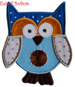 owl 8x5cm iron-on designer patch used for jeans clothing fabric gifts crafts to iron on children child kids toddler gift baby birth christening baptism birthday personalised diy hobby craft embroidered motifs letters personalise to personalise gifts fo ..