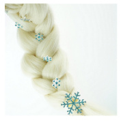 SwirlColor 1 Set 6 Pieces Snowflake Shape Barrettes Frozen Hair Clips Snow Hair Jewellery Hairpins Set with Blue Rhinestone