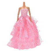 JETTINGBUY 1 Pcs Pink Embroidery Handmade Widding Lace 3 Layers Dress for 28cm Barbies