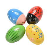 JETTINGBUY 1 Pcs Wooden Sand Eggs Children Kids Baby Educational Instruments Musical Toys