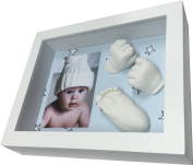 Kit Footprint 3D Baby with Frame -Back blue Stars
