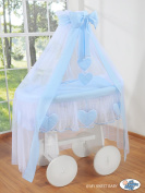 BEAUTIFUL NEW BEDDING SET ONLY FOR BABY WICKER CRIB BASSINET IN WHITE / BLUE COLOUR WITH DRAPE