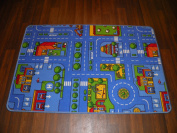 Non Slip Kids City/Road Playmat Blue Rug 80cm x 120cm Hours Of Fun For The Kids