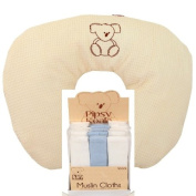 Pipsy Koala Feeding Pillow and Pipsy Koala Muslin Cloths, 3 Pack, White and Blue