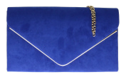 Girly HandBags Faux Suede Clutch Bag Envelope Metallic Frame Plain Design Evening -- Royal Blue