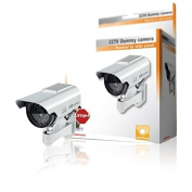 Premium Fake/Dummy CCTV Security Camera Solar Powered with Flashing LED light - Indoor Outdoor - Silver by TARGARIAN