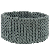 Homescapes Grey Knitted Storage Basket Round W37 x H21cm 100% Cotton Fabric Basket Toys Basket Matching with Knitted Pouffes
