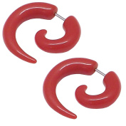Pair of Red Imitation Fake Spiral Tapers Ear Expanders 16 Gauge