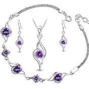 sterling Silver Diamond Accent Amethyst angel Tianyu Set Earring+Pendant Necklace