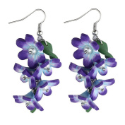 Drop Earring Trailing Flower Bouquet (Purple) Made With Resin & Crystal Glass by JOE COOL