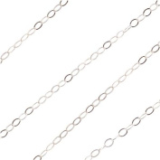 Sterling Silver Flat Cable Chain 1mm Wide -Bulk- Sold By The Foot