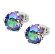 6mm Purple, Green Paradise Shine Crystal Stud Earrings Made With Sterling Silver and. Crystals by Black Moon