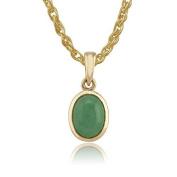 Gemondo Jade Oval Pendant, 9ct Yellow Gold 1.32ct Jade Cabochon Bezel Set Oval Pendant on 45cm Chain