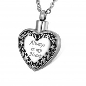 "HOUSWEETY Cremation Jewellery Stainless Steel ""Always in My Heart"" Heart Urn Pendant Necklace - Memorial Ash Keepsake- Free Velvet Pouch & Funnel Fill Kit"