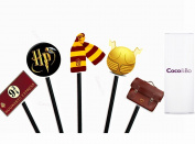 10 x Coco & Bo - Magical Wizarding Cupcake Toppers / Picks - Harry Potter Theme Party Decorations / Cake Accessories