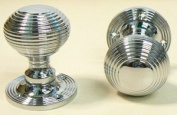 Ironmongery World Polished Chrome Reeded Queen Anne Beehive Mortice Door Knob...