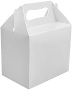 12 x White Plain Party Boxes Food Toy Loot Lunch Cardboard Gift Wedding/Kids
