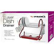 PRIMA 2-Tier Dish Drainer, Red