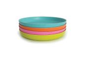 BIOBU by EKOBO 34543 Bambino Set of Plates in Lagoon Blue / Mandarin / Pink / Lime