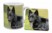 Black German Shepherd Love You Dad Mug and Table Coaster, Ref:DAD-45MC