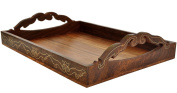 SouvNear Elegant Handmade Wood Serving Tray for Your Kitchen, Dining Room, Bar, Tea, Coffee Lounge and Other Food Service Needs - 43cm x 28cm - All Wooden Trays with Handles and Decorative Brass Inlays in Dark Indian Rosewood