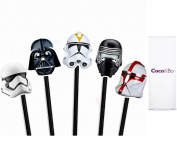 10 x Coco & Bo - Star Wars Villains Cupcake Toppers - Darth Vader Kylo Ren Storm Trooper and Clone Tropper Theme Party Decorations & Cake Accessories