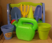 Children's Garden Case Tool Set 9 pieces for Gardening and Beach Kit with Sand Bucket, Spade and Tools Kids Gift Set