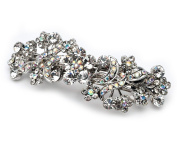Women's Bridal Wedding Hair Barrette, Silver & AB Crystals