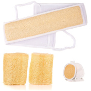 Exfoliating Loofah Backscrubber, Sponges and Pads Bath Shower Kit - Skin Care Tools For Men and Women - 100% Natural Luffa Products - Body Scrubber Exfoliator Sponge Set for Clear, Smooth Skin.